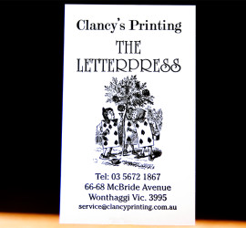 Clancys The Letterpress ink small